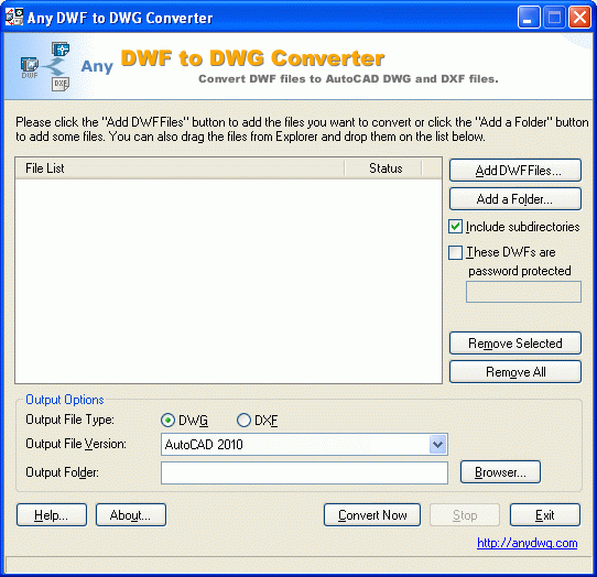 Any DWF to DWG Converter Screenshot