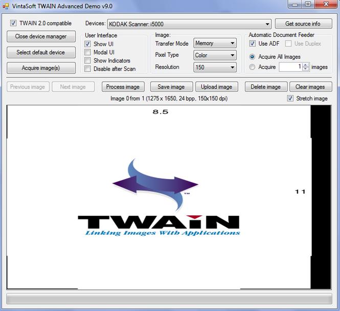 VintaSoftTwain.NET SDK Screenshot