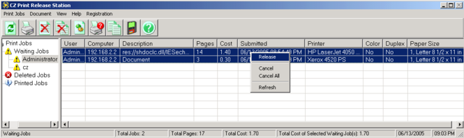 Print Management - Print Release Station Screenshot