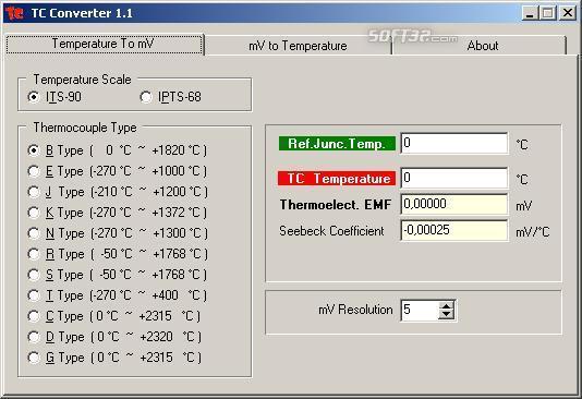 TCConverter Thermocouple Temp-Emf Converter Screenshot 3