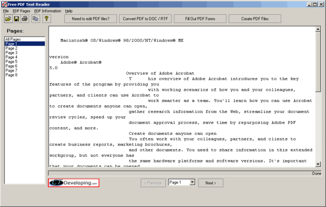 Free PDF Text Reader Screenshot 1
