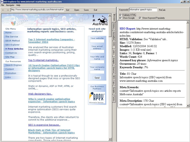 SEO Explorer Screenshot