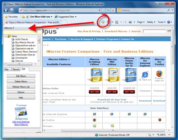 iMacros for Internet Explorer Screenshot