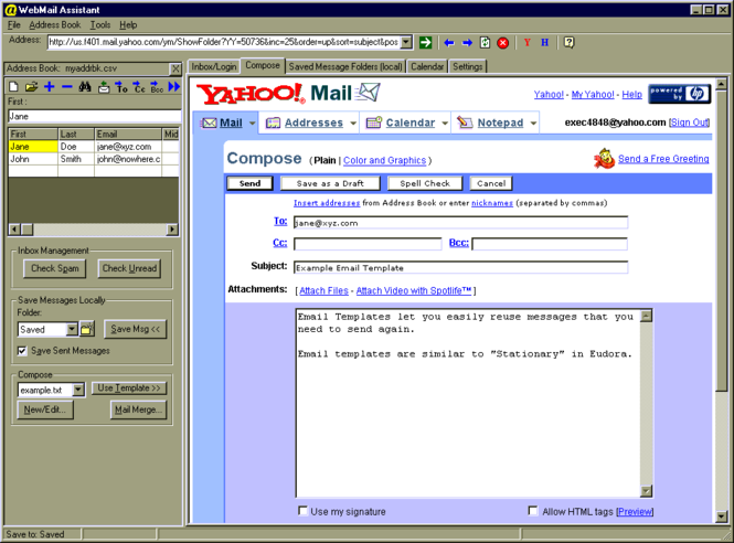WebMail Assistant for Hotmail and Yahoo EMail Screenshot