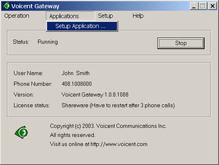 Voicent VoiceXML Gateway Screenshot