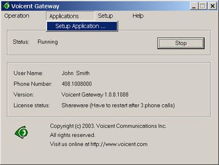 Voicent VoiceXML Gateway Screenshot