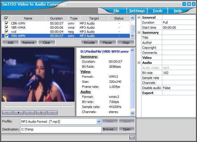ImTOO Video to Audio Converter Screenshot
