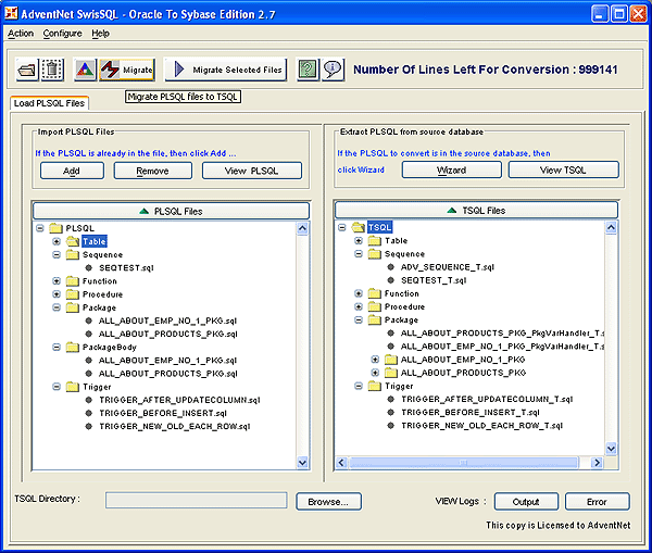 SwisSQL - Oracle to Sybase Migration Tool Screenshot