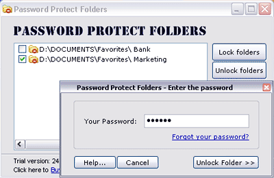 Password Protect Folders Screenshot