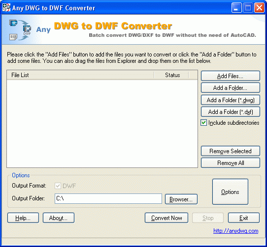 DWG to DWF Screenshot