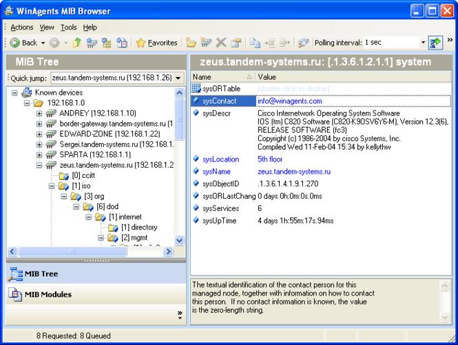 WinAgents MIB Browser Screenshot 1