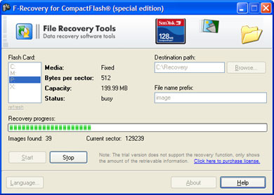 F-Recovery for CompactFlash Screenshot