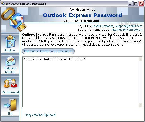 LastBit OutlookExpress Password Recovery Screenshot 2