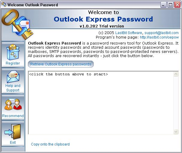 LastBit OutlookExpress Password Recovery Screenshot