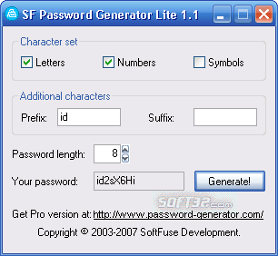 SoftFuse Password Generator Free Screenshot 2