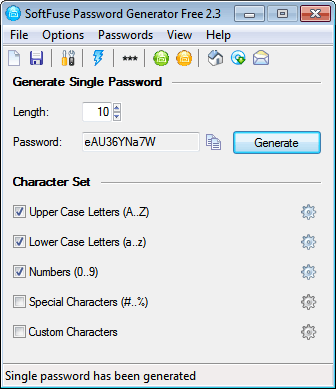 SoftFuse Password Generator Free Screenshot 1